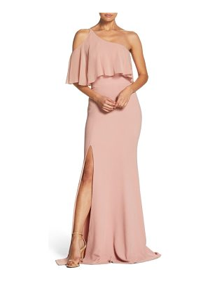 DRESS THE POPULATION Faith One-Shoulder Flounce Crepe Gown