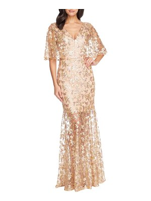 Dress the Population lourdes sequin lace cape sleeve gown