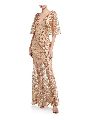 Dress the Population Lourdes Sequin V-Neck Flutter-Sleeve Illusion Gown