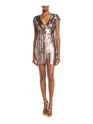 Dress the Population Zoe Brushstroke Sequin V-Neck Mini Dress