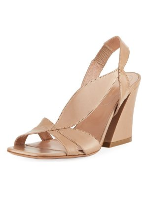 Dries Van Noten Asymmetric Napa Leather Chunky-Heel Sandal
