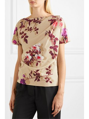 Dries Van Noten cerus gathered floral-print cotton-poplin top