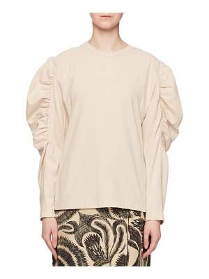 Dries Van Noten Crewneck Ruched Long-Sleeve Cotton Poplin Shirt