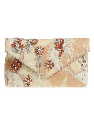 Dries Van Noten crystal embellished brocade envelope clutch