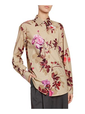 Dries Van Noten Floral Button-Front Long-Sleeve Cotton Top