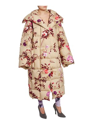 Dries Van Noten Floral-Print Quilted Oversized Coat