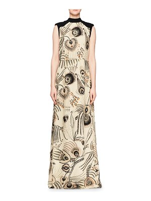 Dries Van Noten High-Neck Sleeveless Beaded Feather-Print Evening Gown w/ Solid Back