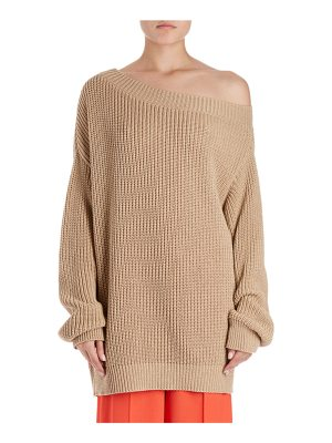 DRIES VAN NOTEN Jazma Oversized Shaker-Knit Off-Shoulder Sweater
