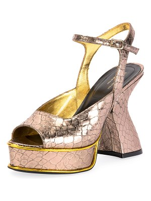 Dries Van Noten Louis IV Modern Snake-Print Platform Sandals