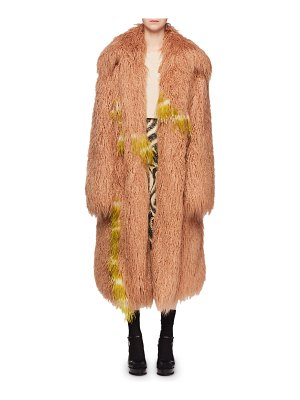 Dries Van Noten Rotadi Faux-Fur Chubby Caban Coat w/ Ostrich Feathers