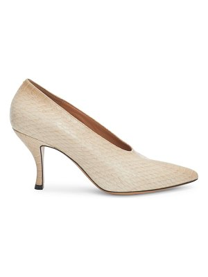 Dries Van Noten snakeskin embossed point toe pumps