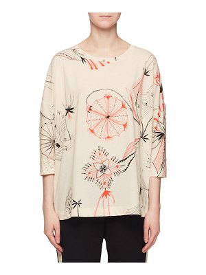 Dries Van Noten Sun-Catcher Print Crewneck 3/4-Sleeve Easy-Fit T-Shirt