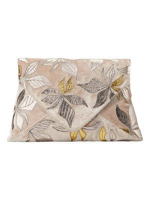 DRIES VAN NOTEN Velvet Metallic Leaf Clutch Bag