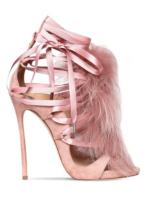 Dsquared2 120mm riri suede lace-up sandals w/ fur