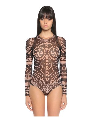 Dsquared2 Tattoo printed tulle bodysuit