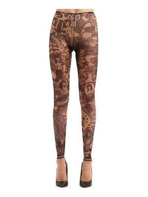 Dsquared2 Tattoo printed tulle leggings