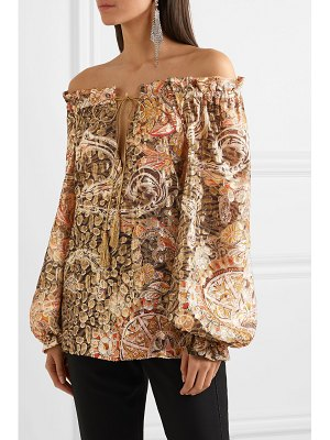 Dundas off-the-shoulder metallic fil coupé silk-blend blouse