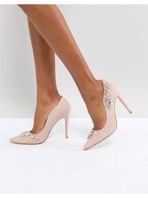 Dune Bridal Dune London Bridal Bestowed Pink Suede Court Shoe with Irredesent Beading