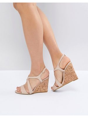 Dune leather summer cork wedges