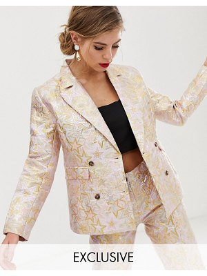 Dusty Daze jacquard blazer two-piece-pink