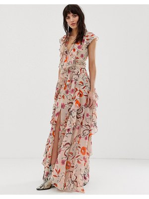 Dusty Daze maxi dress with ruffle detail in vintage floral