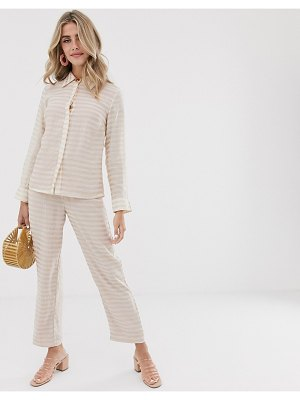 Dusty Daze slim pants with resin flower button in tonal check two-piece-cream