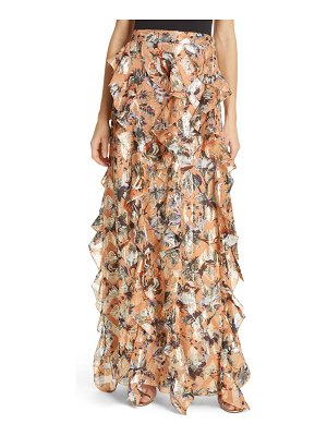 DVF salona floral metallic detail silk ruffle skirt