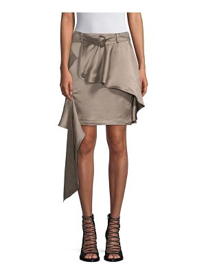 Each X Other linen-blend asymmetric khaki mini skirt