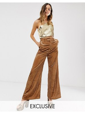 ebonie n ivory wide leg pants in velvet sparkle