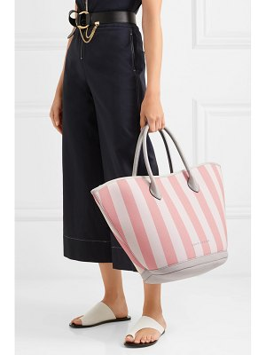 Eddie Harrop beacher leather-trimmed striped canvas tote
