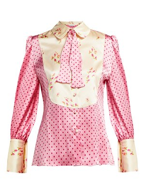 EDELTRUD HOFMANN Jolly Polka Dot And Floral Print Silk Blouse