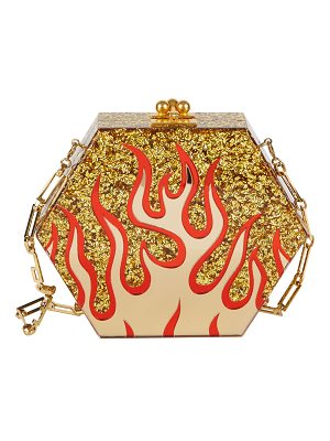 EDIE PARKER Macy Flames Hexagonal Clutch Bag