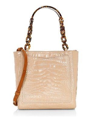 Edie Parker mini croc-embossed patent leather tote
