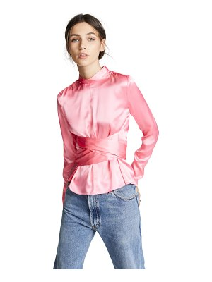 Edition10 satin waist tie blouse