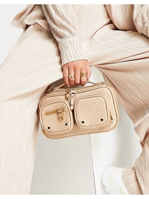EGO tate pouch cross body bag in taupe croc-neutral