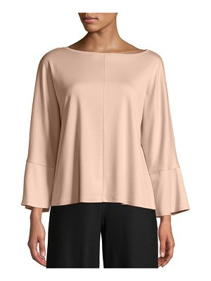 Eileen Fisher Bateau-Neck Bracelet-Sleeve Knit Top