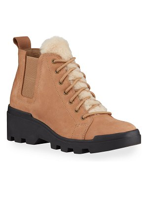 Eileen Fisher Calm Suede Shearling Hiker Booties