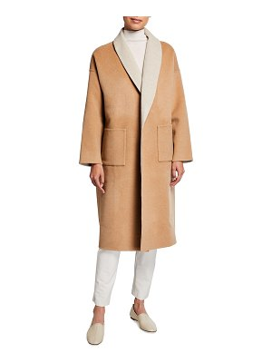 Eileen Fisher Double-Face Wool-Cashmere Shawl Collar Coat