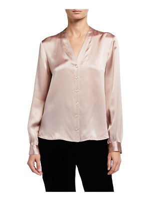 Eileen Fisher Hammered Silk High-Back Band-Collar Shirt