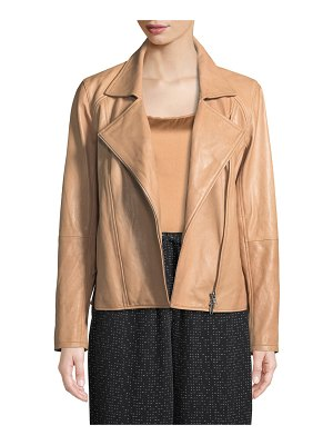 Eileen Fisher Rumpled Lux Leather Moto Jacket