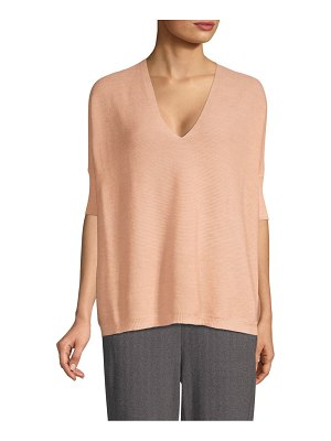 Eileen Fisher short-sleeve merino wool sweater