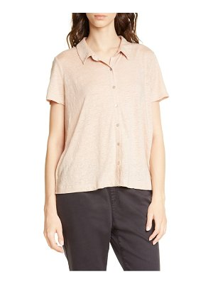 Eileen Fisher short sleeve organic linen button up blouse