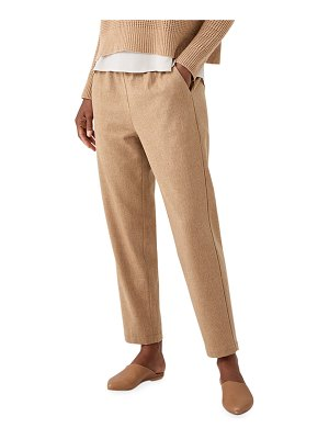 Eileen Fisher Soft Wool Flannel Tapered Ankle Pant