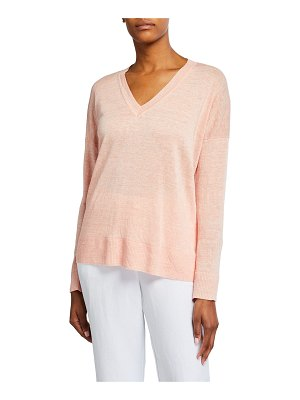 Eileen Fisher V-Neck Organic Linen Boxy Sweater