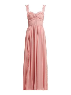 Elie Saab lace trimmed silk blend evening gown