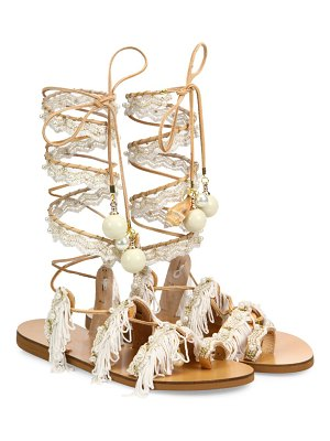 Elina Linardaki ever after embellished leather lace-up sandals