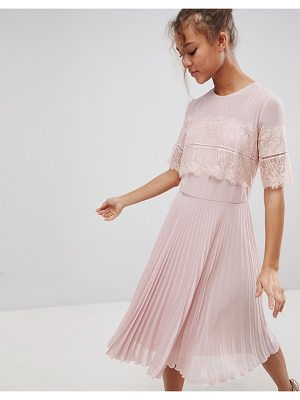 Elise Ryan High Neck Midi Dress With Pleated Skirt
