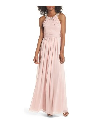 ELIZA J Beaded Halter Gown