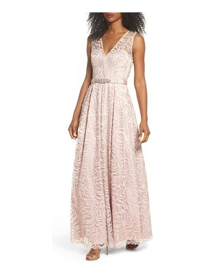 ELIZA J Belted Embroidered Gown