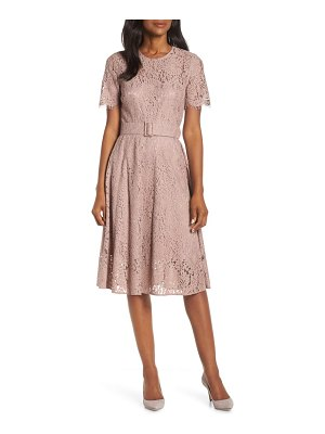 Eliza J belted fit & flare lace dress